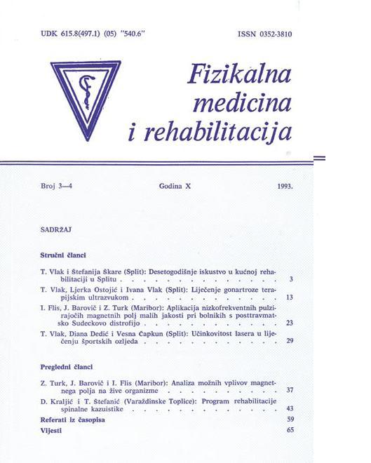 Fizikalna i rehabilitacijska medicina – god 1993 br 3 – 4