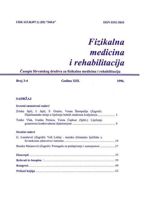 Fizikalna i rehabilitacijska medicina – god 1996 br 3 – 4